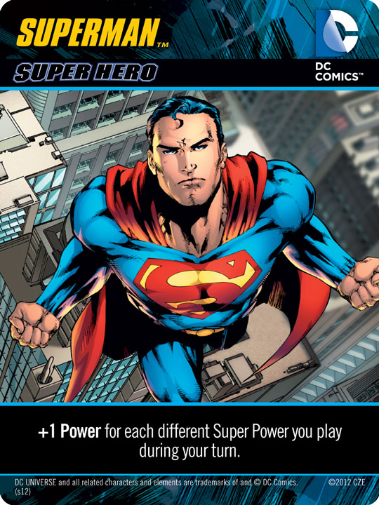 Superman Character Card from DC Deck Building Game