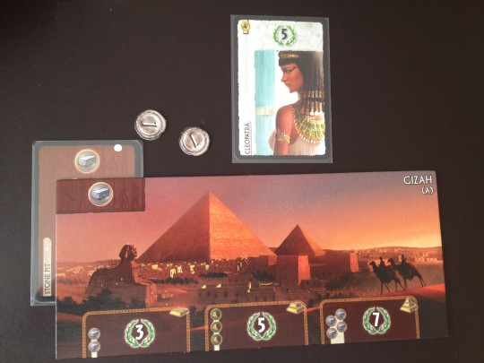 The player plays a Stone Pit with his first card and can now produce 2 Stone. The Stone Pit is free to build.