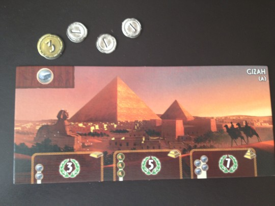 The player starts with the Gizah Wonder Board. As they are playing with the Leaders expansion, they start with 6 coins instead of 3.
