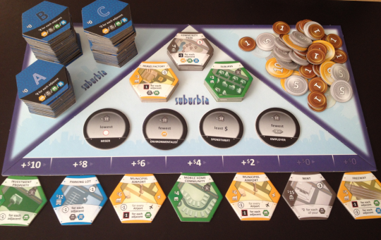 The Main Suburbia board is set up and ready to go!