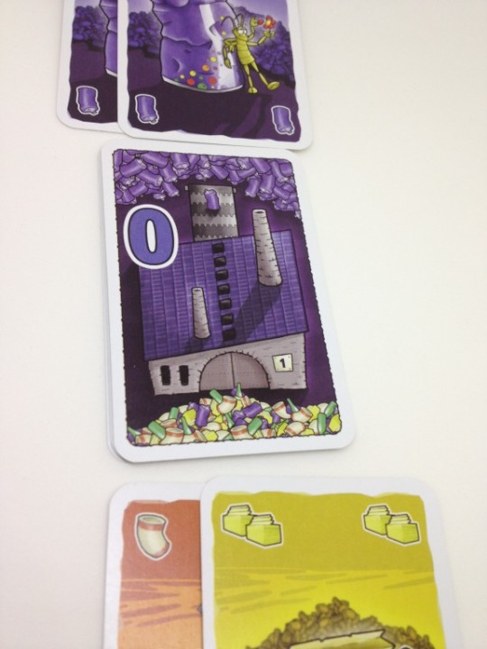 I put 2 into the Purple recycling Factory and added 2 into the waste.