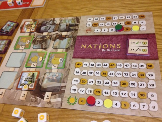 Nations the Dice Game Game Board