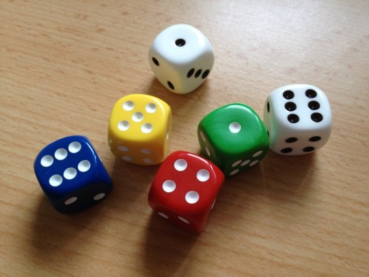 Qwixx Rolled Dice